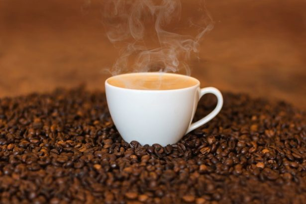 Hot Cup of Coffee on Whole Beans