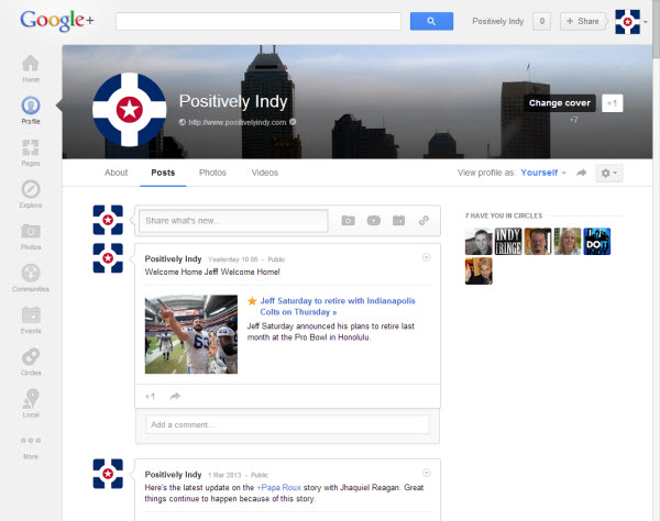 Google Plus Positively Indy