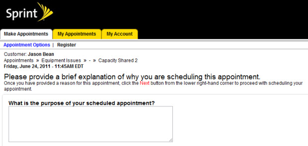 Sprint Tech Support Appointment Request